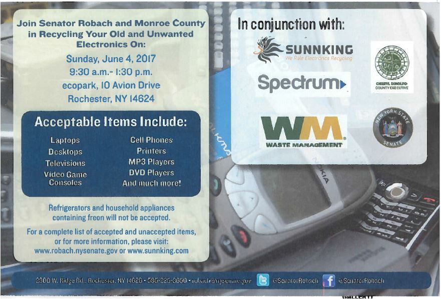 Free Electronic Recycling Day By Sen Robach Monroe County Town
